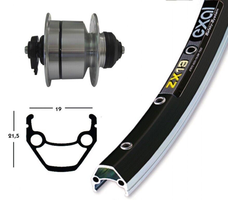 Bike-Parts 28″ Front Wheel Exal Zx 19 + Hub Dynamo Shimano Dh-3d72 (Qr)