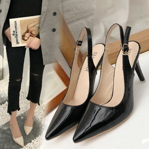 New-Women-Buckle-Slingback-Sandals-Ladies-Work-Smart-High-Heel-Pointed-Toe-Shoes