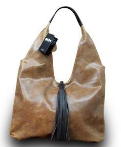 Made-in-Italy-Luxus-Damen-Schultertasche-Shopper-Echt-Leder-Sauvage-Braun
