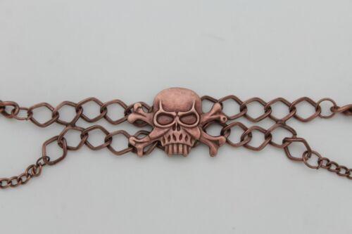 Women Fashion Boot Bracelet Dark Gold Metal Chain Shoe Skull Biker Gothic Style
