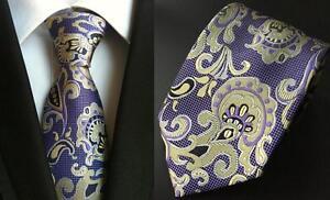 Violet-cravate-et-Jaune-Motif-Cachemire-a-Motifs-Fait-Main-100-soie-Cravatte