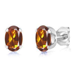 0-80-Ct-Oval-Shape-Orange-Madeira-Citrine-925-Silver-Stud-Earrings