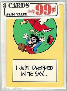 Nintendo-Mario-Bros-Greeting-Card-3-Pack-5-Nexoft-1989-Factory-Sealed