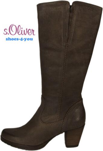 S. Oliver zapatos botas Lang caña cuero genuino marrón de tacón alto nuevo