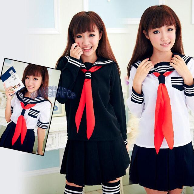 Sailor Navy Fancy Dress Uniform Cosplay Costume Japanese School Girl Outfit Kit