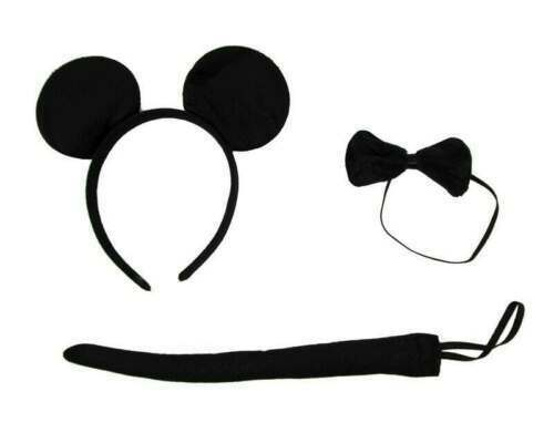 BLACK MOUSE SET EARS ON HEADBAND TAIL AND BOW TIE FANCY DRESS MICKEY RAT BOOK