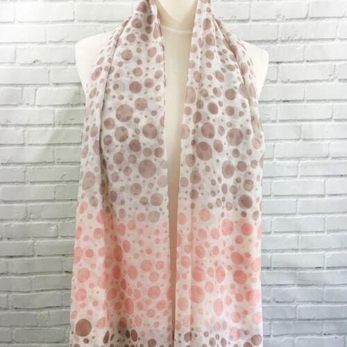 Scarf Pashmina Wrap Pink Brown White Polka Dot Spots Light Weight Shawl