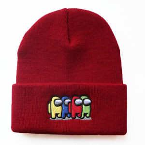 Soft Elastic Hat Among Us High Quality Embroidery Beanie Cap Knitted Video Game