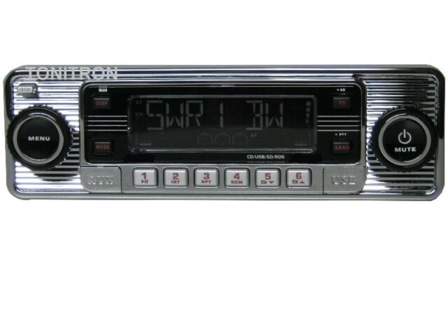Classic Oldtimer Auto D'Epoca Retro Radio Autoradio USB SD CD MP3 Aux in Cromo