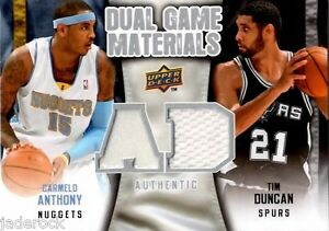 Carmelo-Anthony-Tim-Duncan-2009-10-Upper-Deck-Dual-Game-Materials-Jersey-Relic
