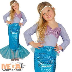 Mermaid Girls Fancy Dress Fairy Tale Sea Princess Kids World Book Day Costume