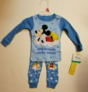 Toddler Boys Mickey Mouse FLANNEL Pajama Set Size 2T NWT SHIPS FAST BLUE