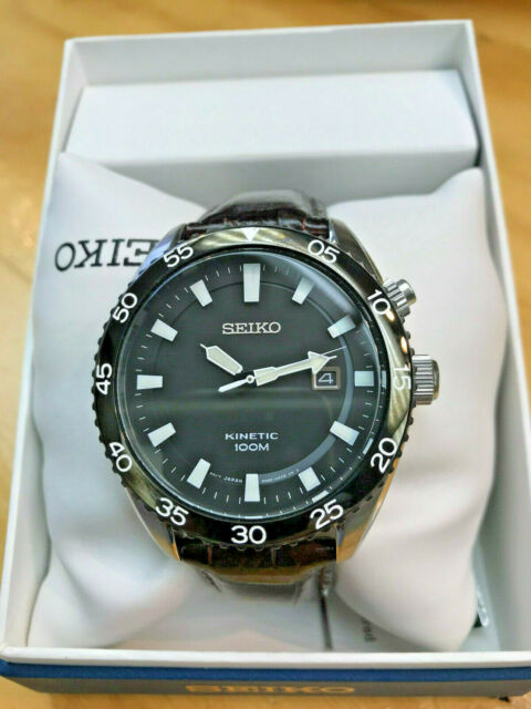 Seiko Black Dial Brown Leather Strap Mens Watch Ska627