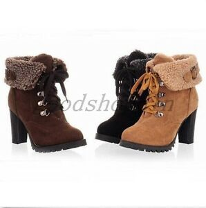 0d252afd40d Womens Winter Warm Fur High Heel Shoes Platform Lace Up Ankle Boots ...