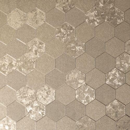 Arthouse Folie Wabe Geometrisch Vinyl Tapete Metallisch 294701 Champagner Gold