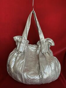 Pink Python Leather Slouchy Hobo Tote Soft Leather Large Tote