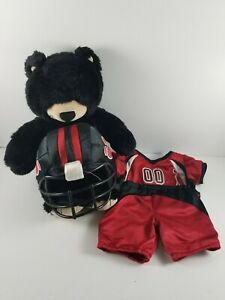 Build-A-Bear-Black-Bear-with-Black-and-Red-Football-Outfit-Helmet-Jersey-amp-Pants