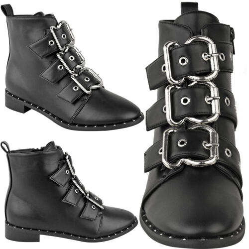 Flat Faux invernali Leather Size Stivaletti Biker Black Strappy Womens Punk con Sil Large borchie Ladies New qtFp7nwX