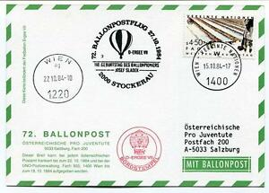 1984 Ballonpost N. 72 Pro Juventute Aerostato D-ergee Vii Stckerau Onu J. Sladek
