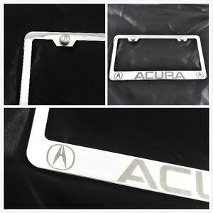 laser engraved for Acura Chrome License Plate Frame brush silver w screw caps | eBay