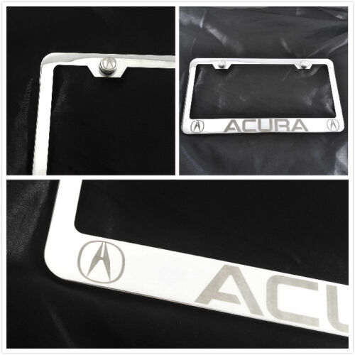 laser engraved for Acura Chrome License Plate Frame brush silver w screw caps