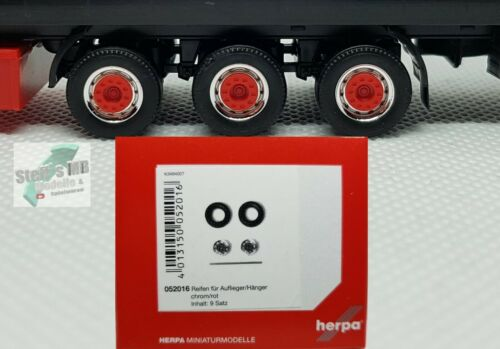 Herpa 052016 Reifen für Auflieger Hänger Chrom rot 1:87 Eigenbau Umbau geeignet