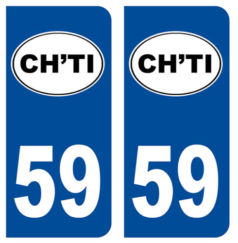 59 CH/'TI NORD DEPARTEMENT IMMATRICULATION 2 X AUTOCOLLANTS STICKER AUTOS