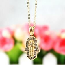 "HAMSA HAND OF FATIMA CHARM NECKLACE 0.75"" Small Pendant Sparkling CZ Gold Plate"