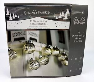 10 Glass Shimmering String Baubles Battery Operated