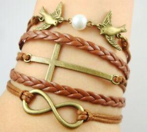 NEW-Hot-Infinity-Love-Anchor-Leather-Cute-Charm-Bracelet-Bronze-DIY-SL189