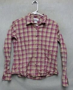 W4209-Wrangler-Button-Up-Long-Sleeve-M-Pink-White-Plaid-Shirt