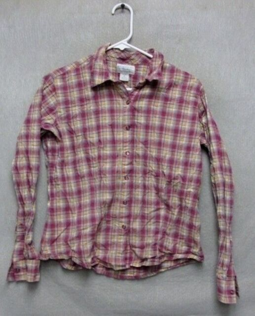 W4209 Wrangler Button Up Long Sleeve - M - Pink/White Plaid Shirt