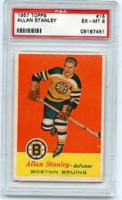 1957 TOPPS #15 ALLAN STANLEY HOCKEY CARD, BOSTON BRUINS, PSA 6