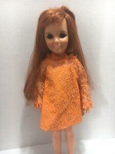Vintage-CRISSY-Doll-by-IDEAL-w-Original-DRESS-Red-hair-Sleepy-Eyes-1969