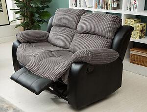 New Luxury California 2 Seat Jumbo CordFaux Leather Recliner Sofa