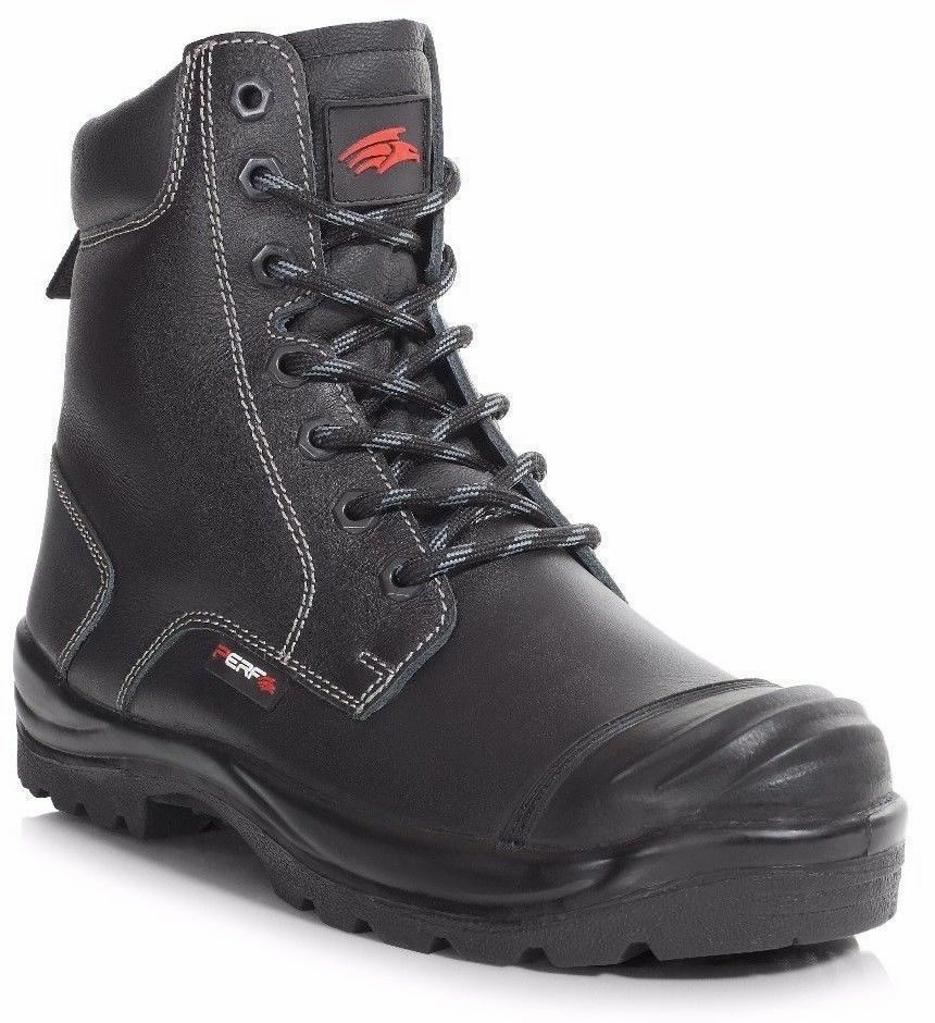 Men's Perf PB 15 Black Leather Side Zip Steel Toe Cap Safety Boots UK 6 - 14 S3