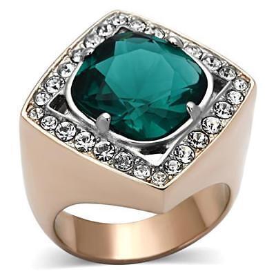Ladies gold ring cluster cz 3 carat wide setting super sparkling 18kt steel 1879