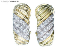 """Ohrclips Halb Creolen""""Diamanten"""" Bicolor Gold"""