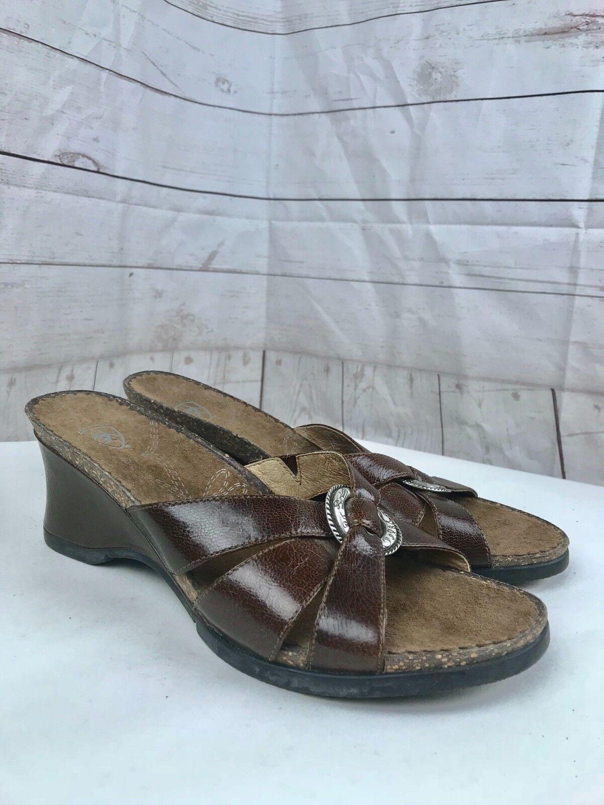 Ariat Women's Brown Leather Cork Embellishment Strap Wedge Heel Sandal Size 8