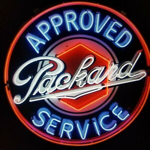 RARE Designed PACKARD APPROVED SERVICE AUTO GAS /& OILS PUMP REAL NEON SIGN LIGHT