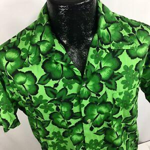 VTG 50-60's Brent Männer Grün Hibiskus Blumen Hawaii Loop Kragen Camp Shirt L LG