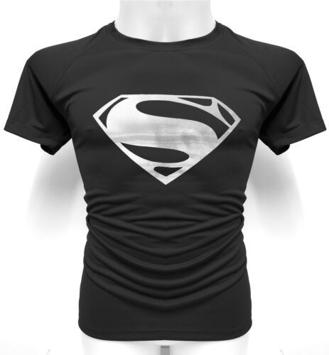 SUPERMAN Technical Mesh T-Shirt Stretchy ACTIVE-DRY MMA Gym Workout Foil Design
