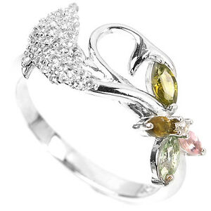 Natural-TOURMALINE-amp-White-TOPAZ-925-STERLING-SILVER-Dolphin-RING-S6-75