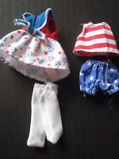 Barbie Kelly & Friends Lot of 4 Doll Clothes Red White Blue Barbie Labels