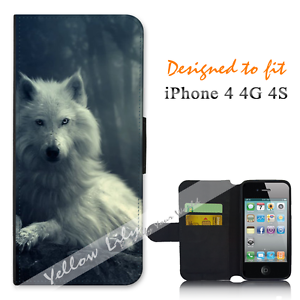 For-Apple-iPhone-4-4G-4S-Wallet-Flip-Phone-Case-Cover-White-Wolf-Y00767