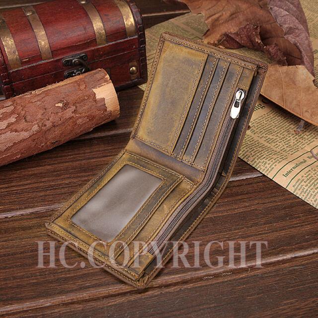 Fashion Men's Genuine Leather Bifold Wallet Credit Card Holder Purse Zipper