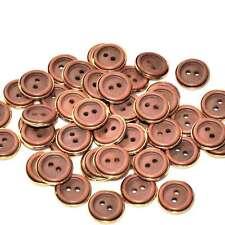 Mercerie Lot de 5 petits boutons plastique doré et marron 11 mm button