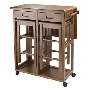 Image Is Loading Small Kitchen Island Table Brown Wood Rolling Lock
