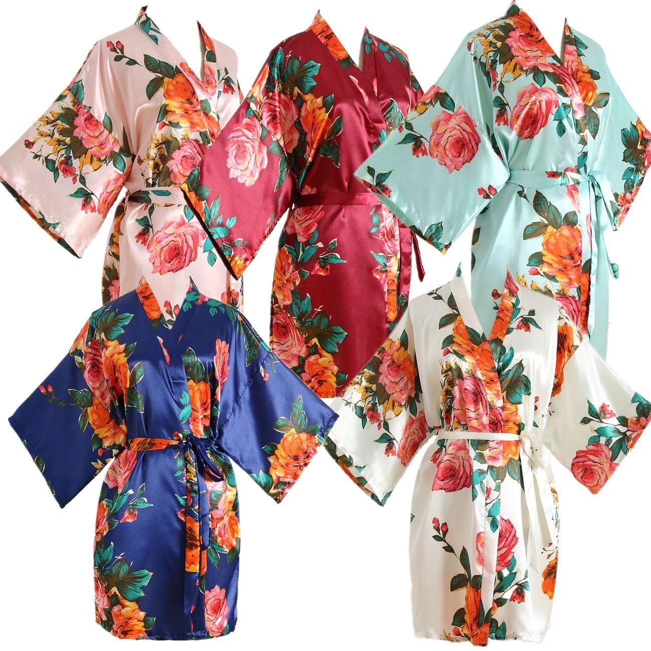 Silk Satin Floral Bridesmaid Robes Gowns Bride Bath Robe Wedding Kimono Robes Uk Ebay