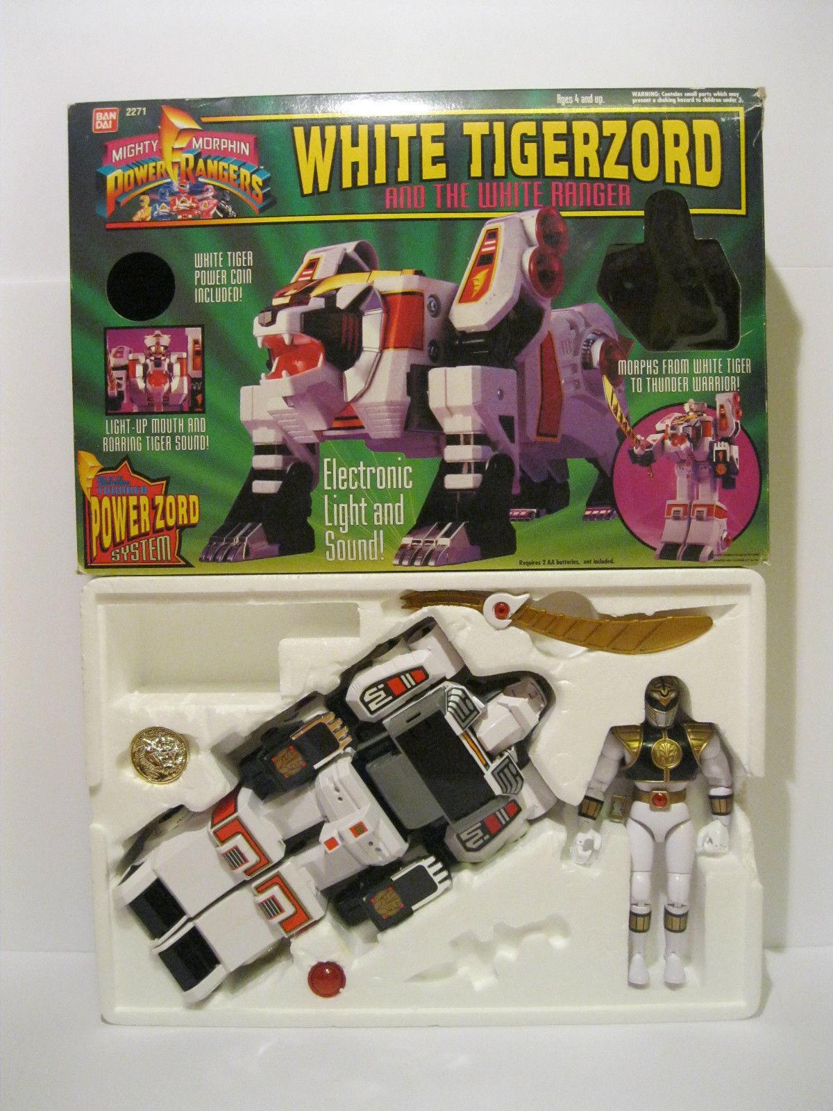 1994 Bandai Bandai Bandai Might Morphin Power Rangers White Tigerzord With Box 33663b